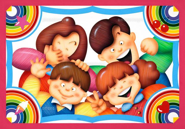 家族の赤い枠のプリクラ写真02237002312の写真素材イラスト素材