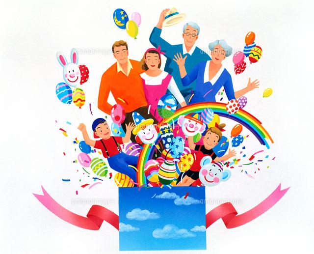 びっくり箱風に家族や風船や虹が飛び出る02237002629の写真素材