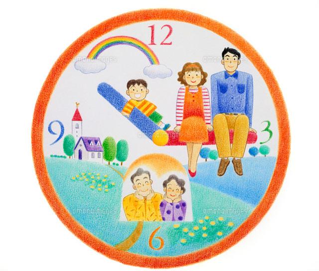 時計盤の虹のある風景と針に乗る夫婦や子供02237003406の写真