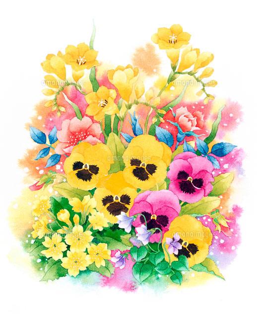 フリージャーやパンジーなど春のブーケ02237004880の写真素材