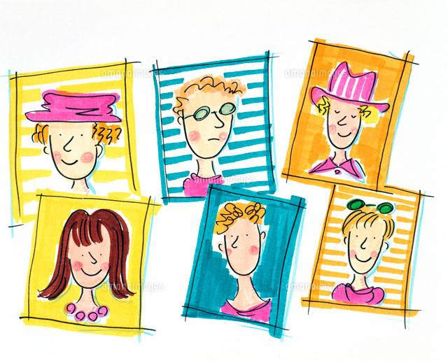 様々な髪型と個性の6人の女性の顔02237004999の写真素材イラスト素材