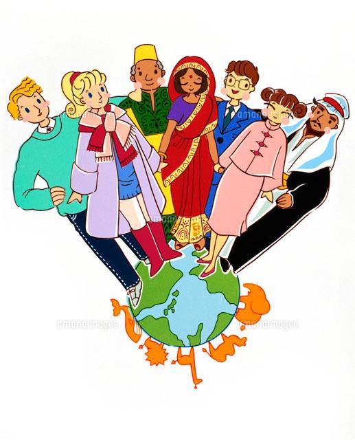 地球の上世界の国の民族衣装の人々と動物02237005087の写真