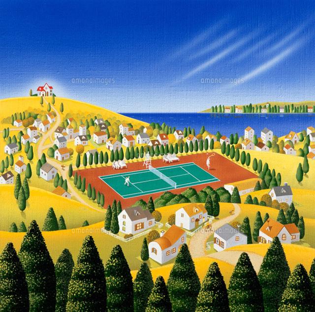 秋のテニス大会テニスコートを見下す風景画02237006070の写真素材