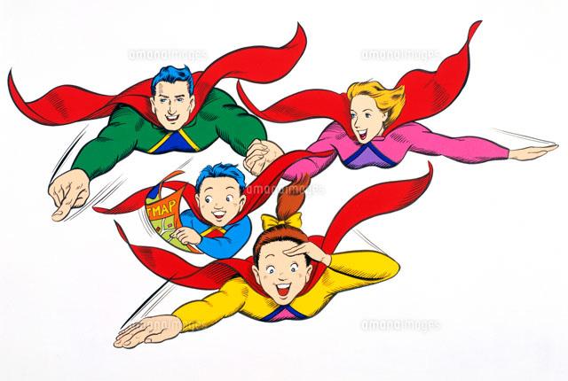アメコミイラストスーパーマン風ファミリー02237006147の写真素材