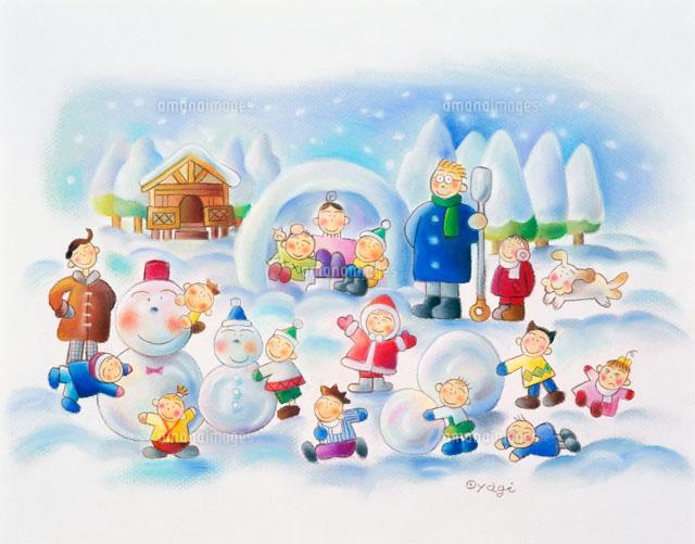 かまくらと雪だるまで遊ぶ冬の風景02237006484の写真素材イラスト