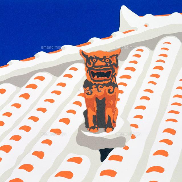 切り絵 夏 沖縄の民家の屋根とシーサー02237007132の写真素材