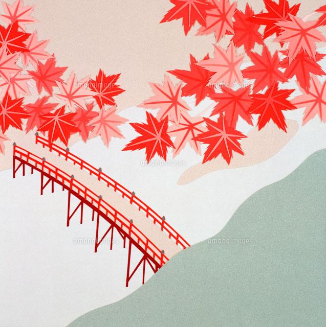 切り絵 秋 上空から見た赤い橋と紅葉02237007173の写真素材イラスト