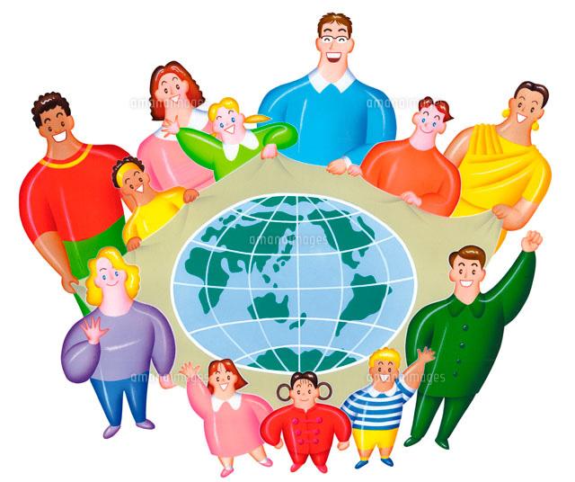 世界地図を囲んで世界の人々 平和を願う02237007734の写真素材
