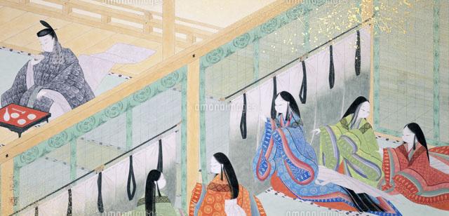 平安時代源氏物語酒宴の男性と十二単の少女[02237009666]の写真素材 ...