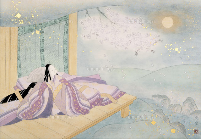 平安時代古今和歌集朧月と桜花十二単の少女02237009703の写真素材