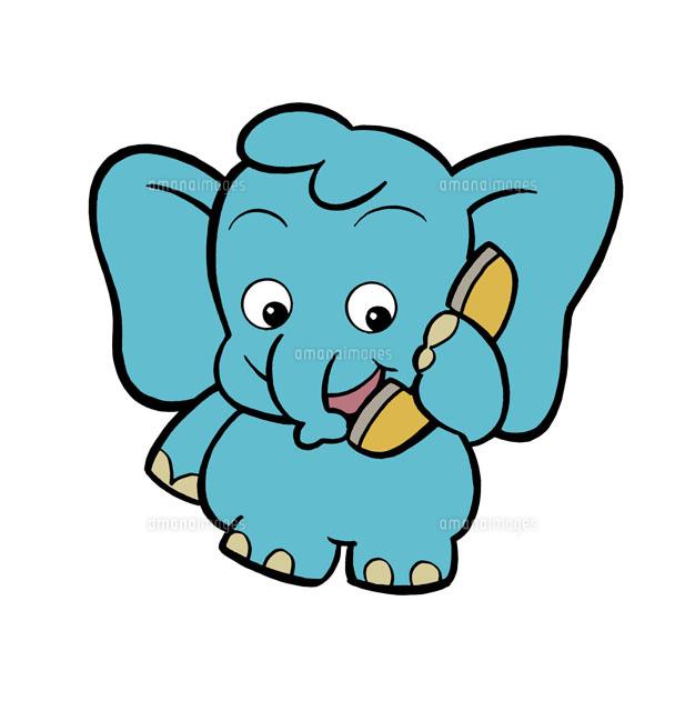 電話で話す象のキャラクター02237009932の写真素材イラスト