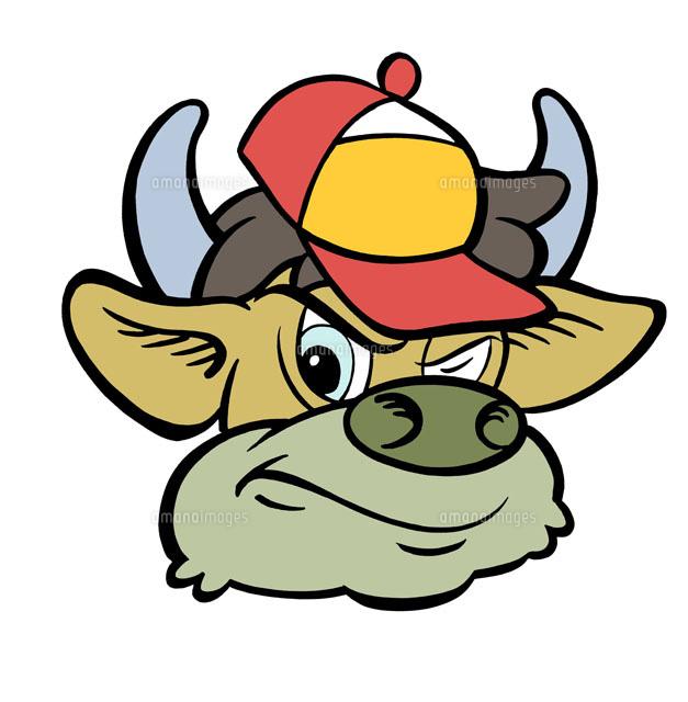 帽子をかぶった牛のキャラクター02237009939の写真素材