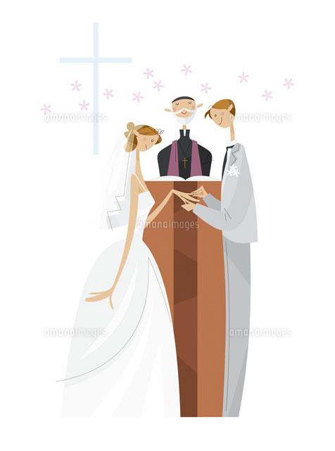 ウエディング 結婚式で指輪の交換02237010680の写真素材イラスト素材