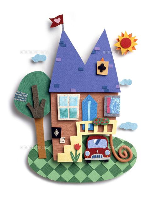 トランプ模様が散りばめられた可愛い家02237011271の写真素材