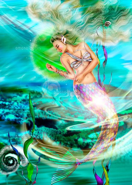 水の中で遊ぶ人魚姫02237011749の写真素材イラスト素材アマナ