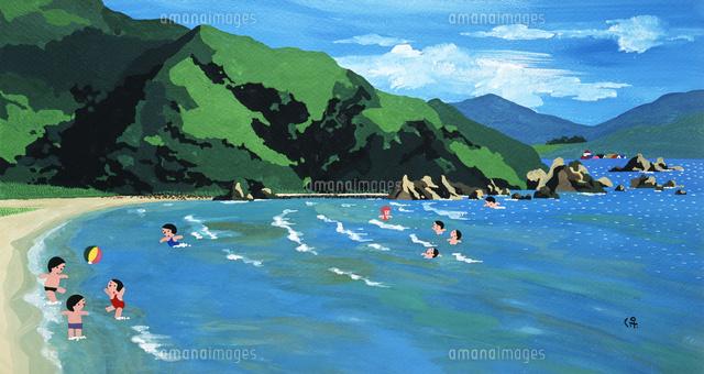 山の見える海で遊ぶ子供02237013352の写真素材イラスト素材アマナ