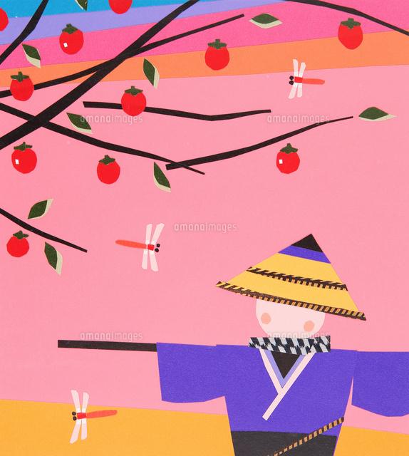 赤とんぼとかかしのいる秋の風景02237013603の写真素材イラスト素材