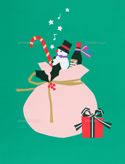 クリスマスプレゼントが詰まったサンタクロースの袋 の写真素材 イラスト素材 アマナイメージズ