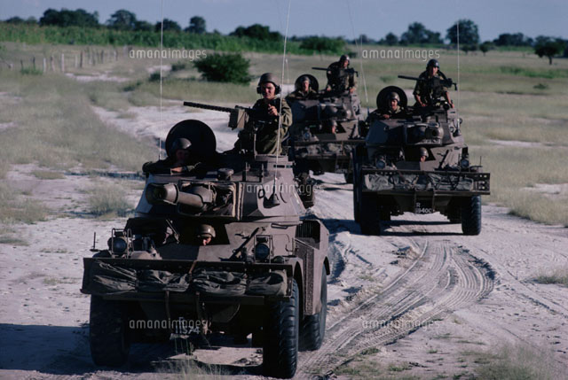 荒野の軍隊と戦闘車 ナミビア02265022576の写真素材イラスト素材