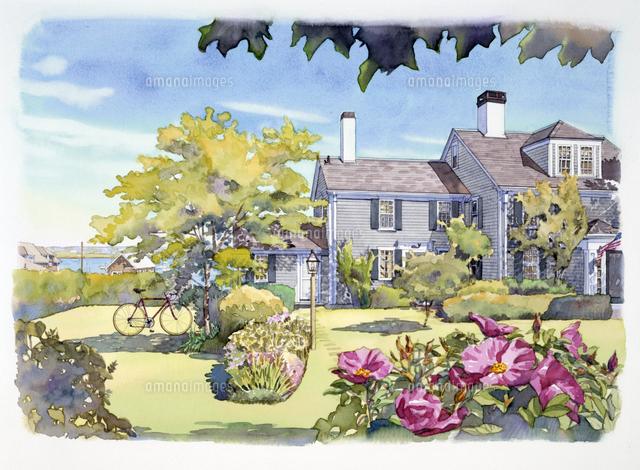 花が咲く庭のある家 水彩イラス...