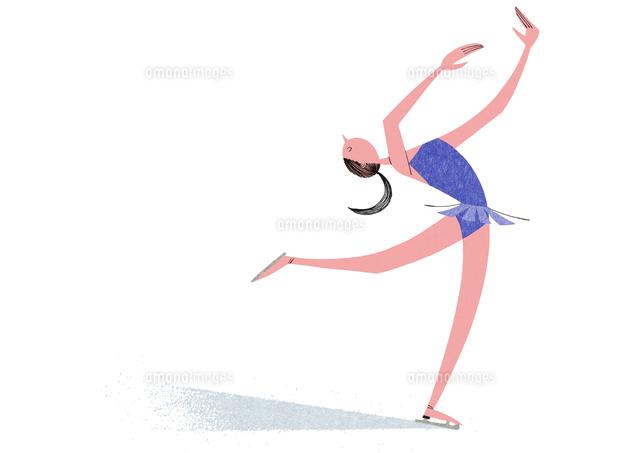 フィギュアスケートをする女性02403000083の写真素材イラスト素材