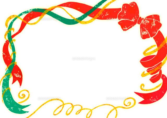 クリスマスカラーのリボンのフレーム02408000019の写真素材イラスト