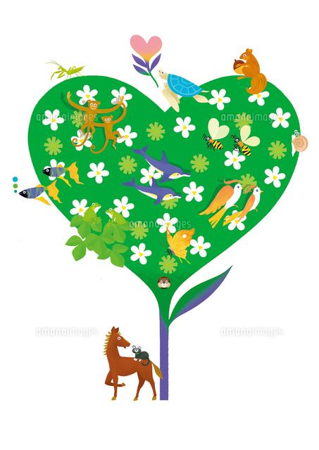 風景ハートの樹と生き物達02412000068の写真素材イラスト素材