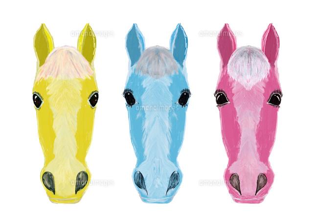 三頭の馬の顔イラスト02427000172の写真素材イラスト素材アマナ