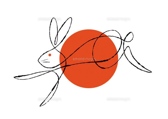 赤い丸と走るうさぎ02438000051の写真素材イラスト素材アマナ