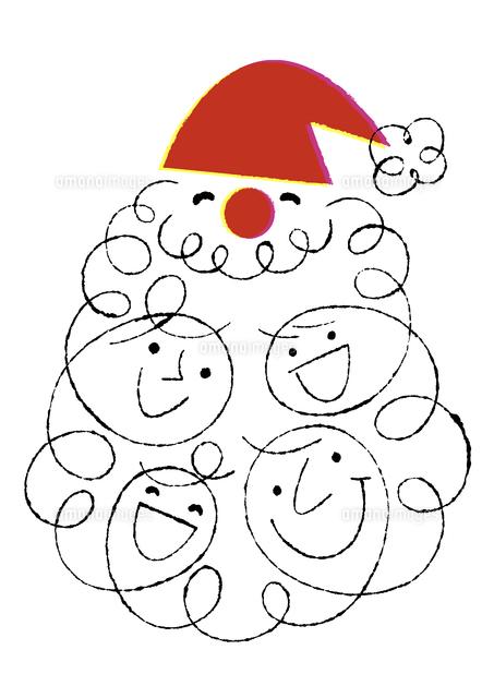 サンタクロースと家族4人の顔02438000093の写真素材イラスト素材