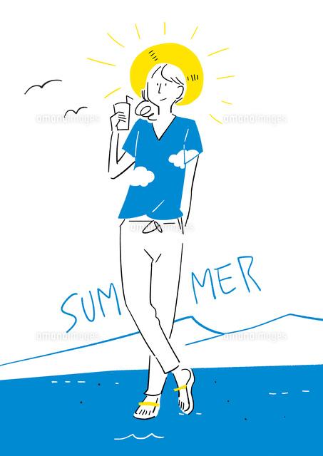 夏のtシャツを着た女の子02463001688の写真素材イラスト素材アマナ