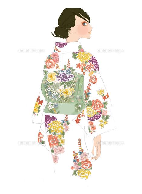 着物を着る女性02485000017の写真素材イラスト素材アマナイメージズ