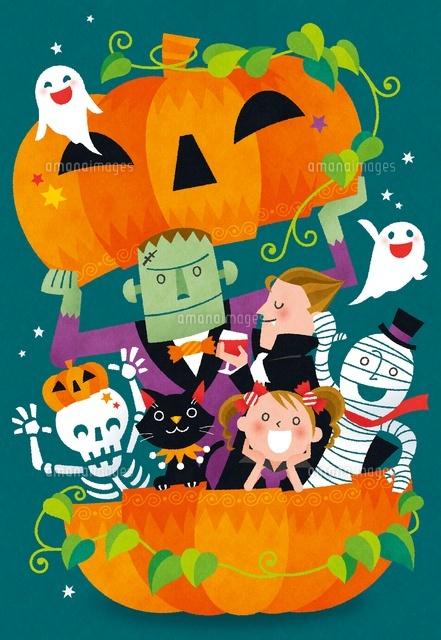 ハロウィンで集まる妖怪たちと女の子02491000020の写真素材イラスト