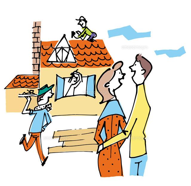 建築中の家をながめるカップル[02514000013]| 写真素材・ストックフォト・画像・イラスト素材|アマナイメージズ