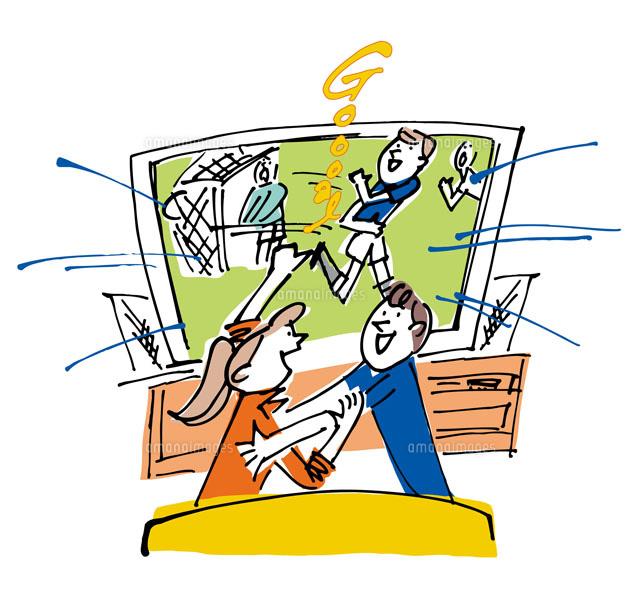 サッカーをtvで観戦するカップル02514000014の写真素材イラスト素材