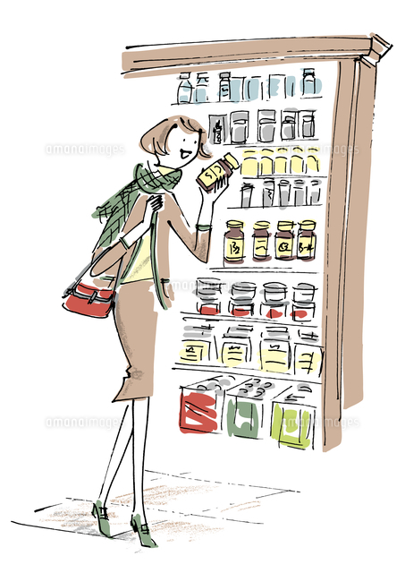 ドラッグストアで買い物する女性02514000109の写真素材イラスト素材