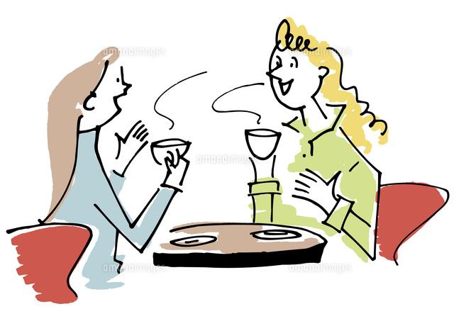 カフェでお茶をする女性2人02514000330の写真素材イラスト素材