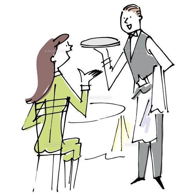 レストランの女性客とウェイター02514000332の写真素材イラスト素材
