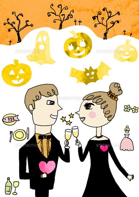 ハロウィンで正装のカップルが見つめ合い乾杯をしている かぼちゃ
