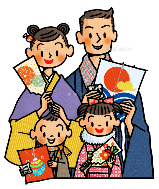 凧と羽子板を持った家族 お正月イメージ の写真素材 イラスト素材 アマナイメージズ
