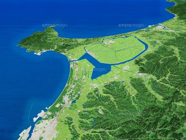 八郎潟と男鹿半島を見下ろす[026...