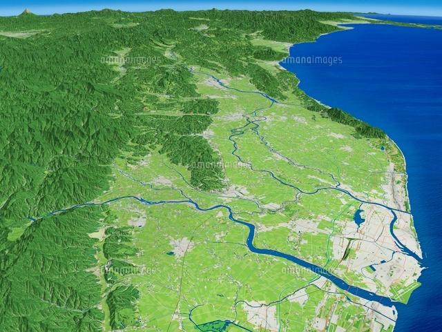 新潟市北側上空より新潟平野と信...