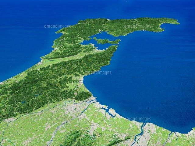 富山市上空より能登半島を望む[0...