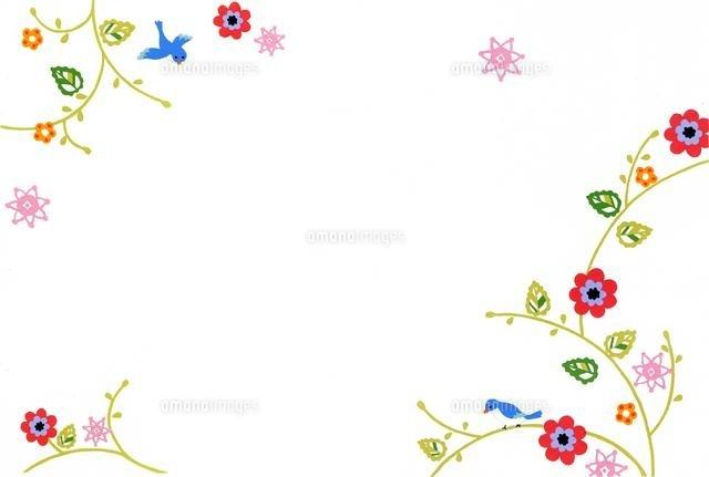 花と小鳥のフレーム02632000079の写真素材イラスト素材アマナ
