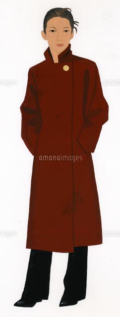 ブラウンのロングコートを着た女性02655000067の写真素材イラスト