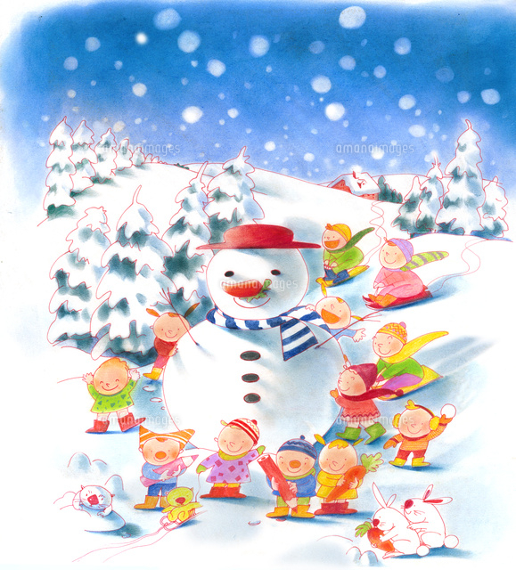 冬休み 雪景色 こどもたち02678000096の写真素材イラスト素材