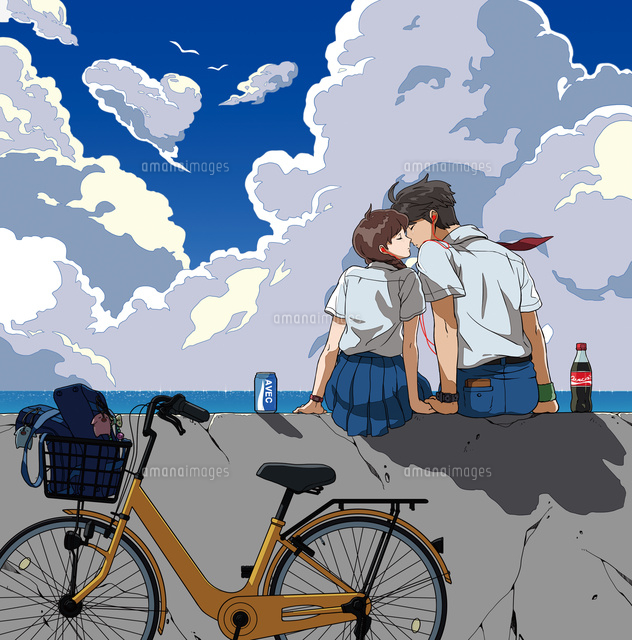海辺でデートする高校生02692000015の写真素材イラスト素材アマナ