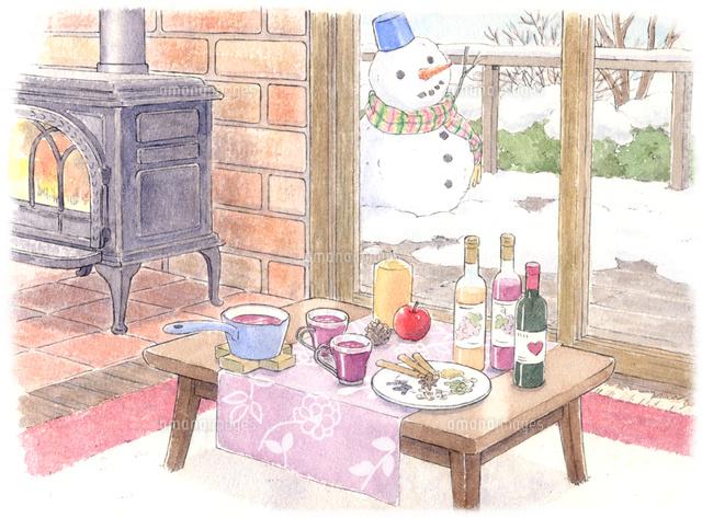 薪ストーブがあたたかい冬の山小屋 水彩イラスト02723000028の写真素材