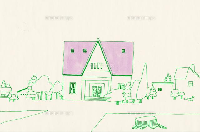 薄紫の屋根の家と切り株の線画02804000019の写真素材イラスト素材