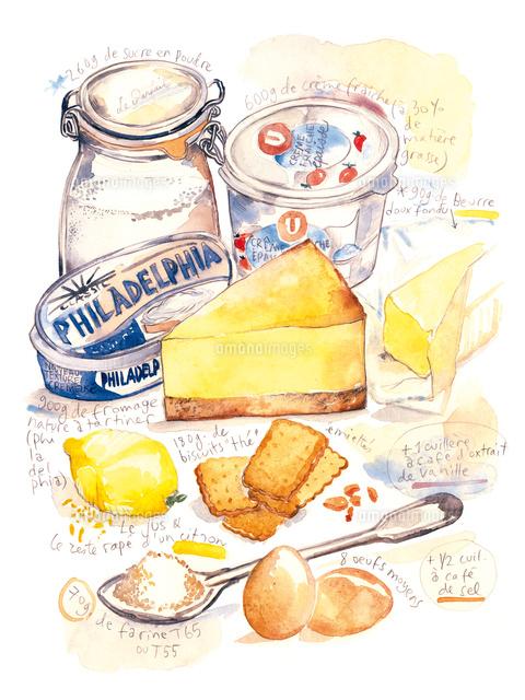 チーズケーキのレシピと材料02807000003の写真素材イラスト素材